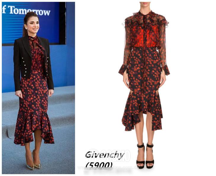 时尚 正文  约旦王后身着loewe连衣裙 再或者就是有廓形质感的连衣裙图片