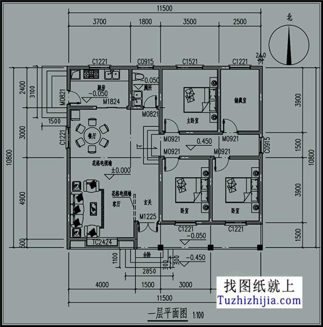 8m 建筑层数:一层; 建筑高度:坡屋顶; 结构形式:砖混结构 设计功能