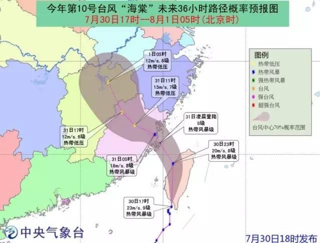 台风 海棠 已在台湾登陆 31日凌晨在福建再次登陆 福州天气将是