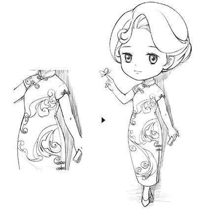 q版教程:教你画一个穿旗袍的性感小姐姐图片