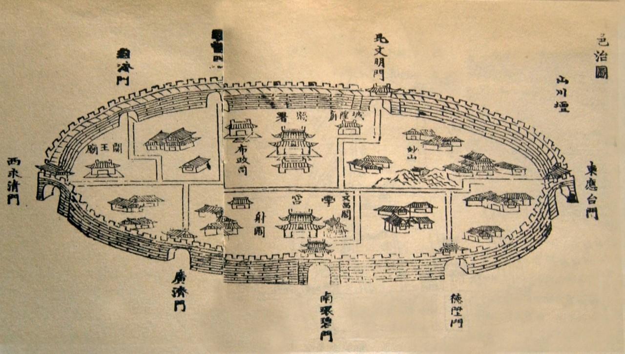县城地处天台盆地中部的河谷平原上,是一座历史悠久的古城.图片