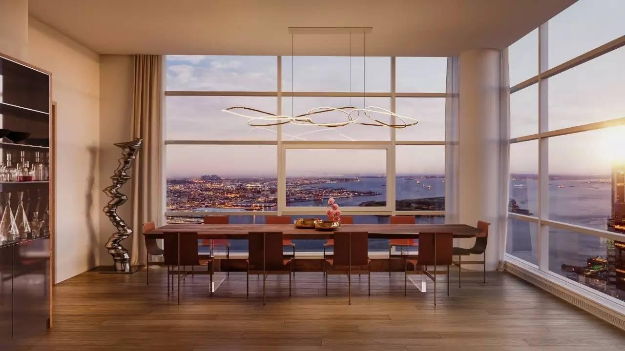 玻璃墙 形成具有极强张力的空间 窗外的城市景观一览无遗 室内以现代图片