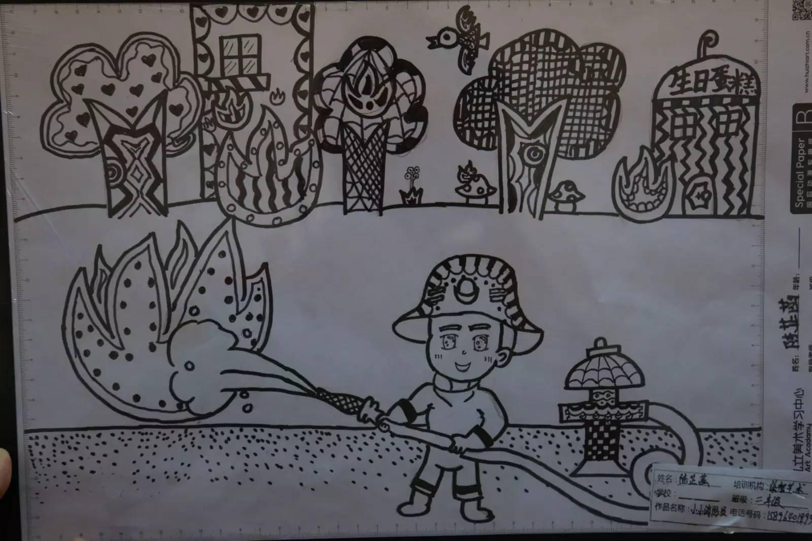 消防简笔画-第二届全国儿童消防作文绘画部分作品展示