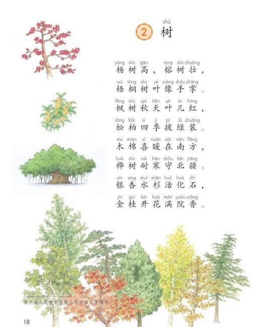 部编二年级语文上册识字二 树 教学设计
