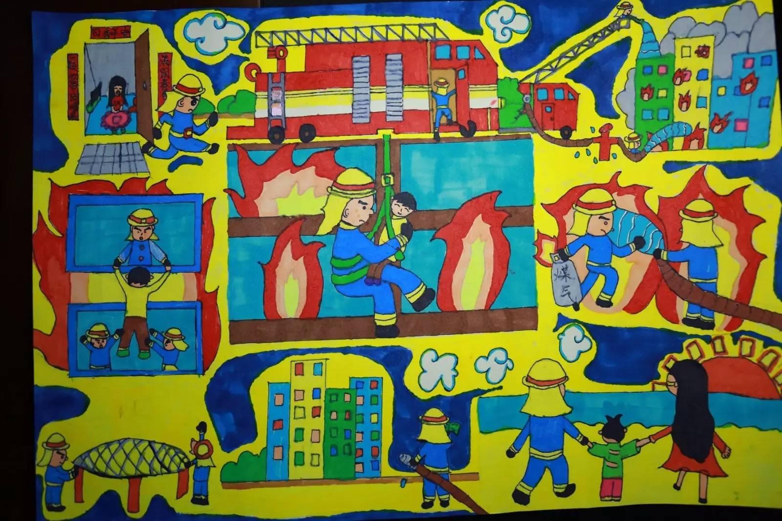 【我是小小消防员】第二届全国儿童消防作文绘画部分图片