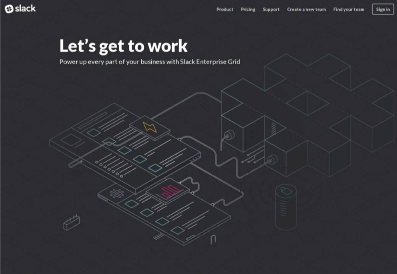 slack的官网上主banner图形采用的这种设计方法,让主页更有空间感.图片