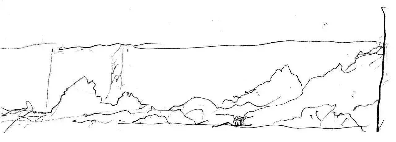 苏州博物馆片石假山手绘图