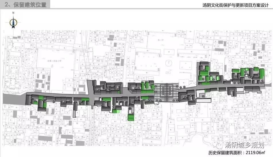 """总平面图   博物馆位置   效果图   文化街作为岳飞庙景区的旅游服务配套,将汤阴传统民间文化艺术融入街道生活,实现了民间艺术展示、民居空间体验、民俗活动参与""""三位一体""""的整体打造."""