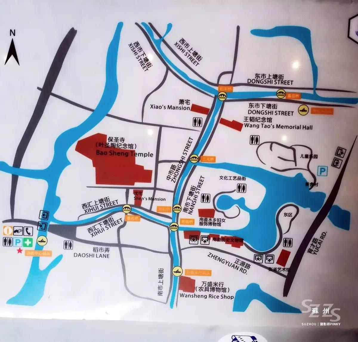 甪直古镇手绘地图