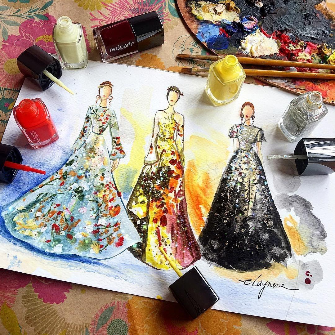 她用口红 指甲油画出世界上最美的裙子 谁还没有个少女梦