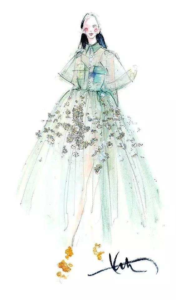 美女插画师的时尚服装设计欣赏图片