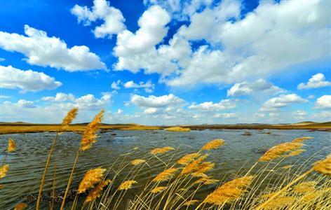 内蒙古锡林郭勒乌拉盖管理区哈拉盖图农牧场的草原湖泊景色.