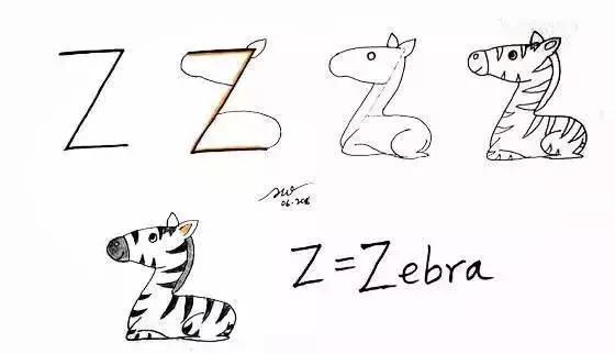 字母变身简笔画 不怕孩子学不会画画和英语