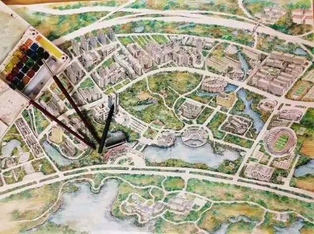 他以前游览厦门大学时,看到他们有非常漂亮的手绘地图,既能表现出学校