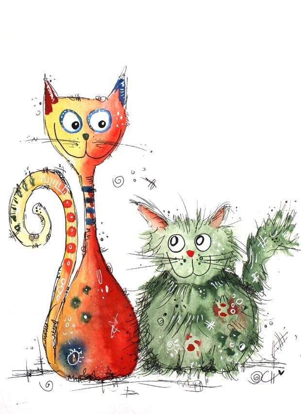 五彩斑斓的可爱小动物手绘插画
