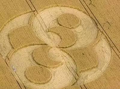 """原因所致的各种有规律的巨形图案,因主要在麦田中出现,故称""""麦"""