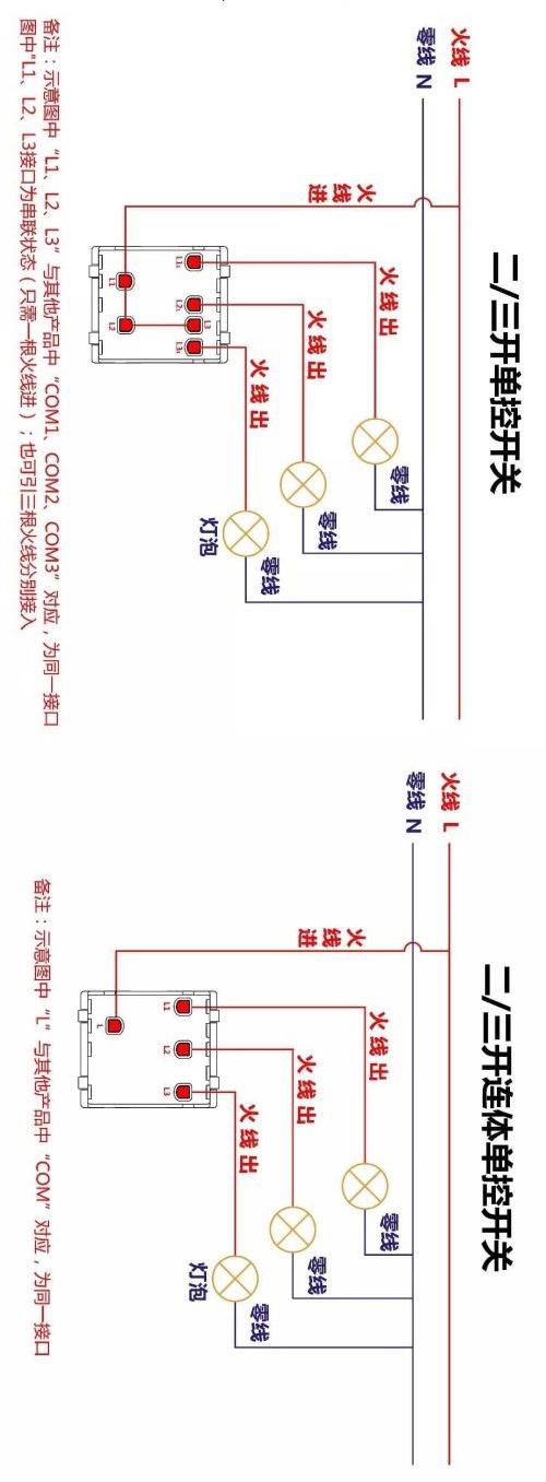 常规开关插座接线图(电工必看,收藏备用!