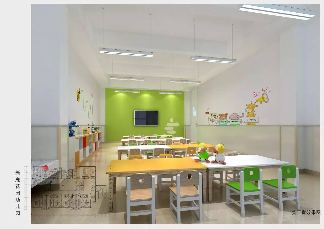 美术教室墙面的护墙板作用主要是保证墙面的清洁以及后期幼儿园运行图片