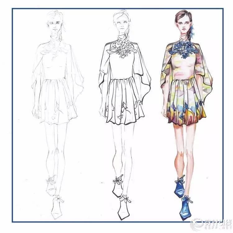 以上就是整理分享的教程,主要是教大家如何设计服装,服装设计的一些技巧,教程非常简单,相信这篇教程肯定会大家有所帮助,赶紧来看看叭~   第七步,用彩铅深棕和紫色深入裙摆细节,对服装装饰物花朵进行第三遍上色,将花心涂成黑色,:然后用高光笔进行点缀处理.
