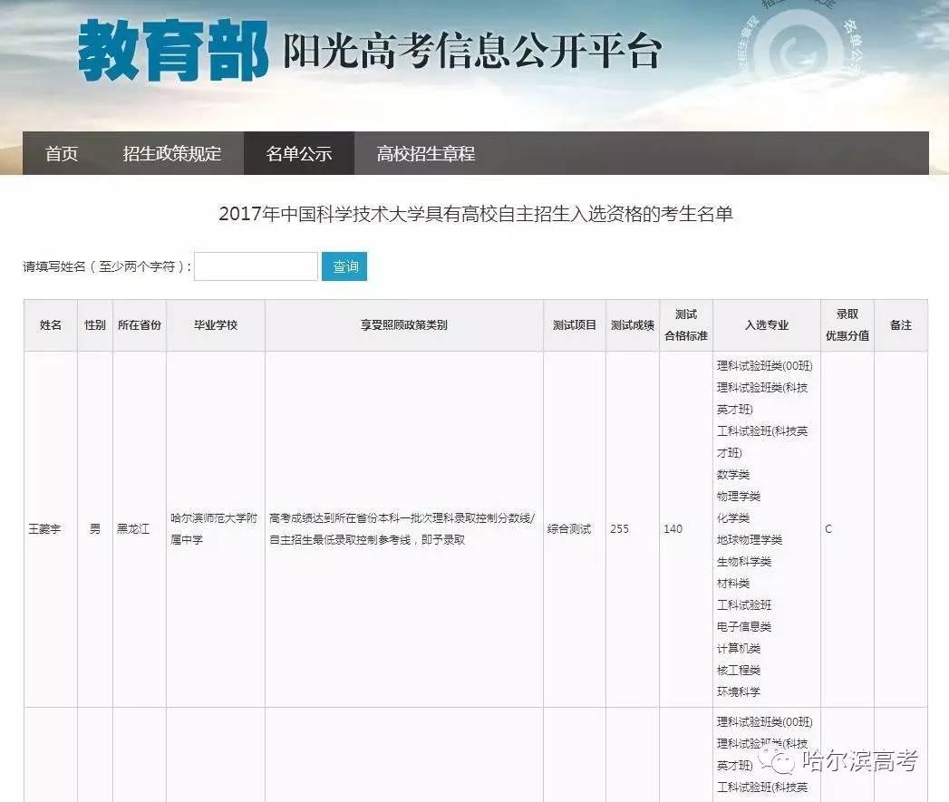 2017黑龙江多少名同学可降分进中国科学技术大学?有你认识的吗?