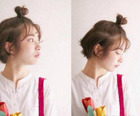 第三种:头发很短的可以只扎刘海,将刘海全部扎起来很适合居家.图片