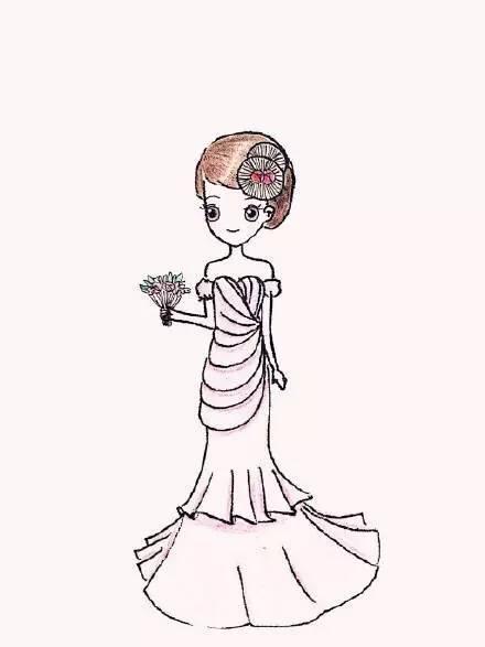时尚 正文  分享一组简笔画风格的唯美彩铅婚纱人物画作品,相信画中的