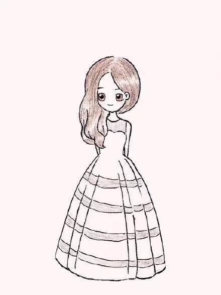 简笔画风格的唯美彩铅婚纱!