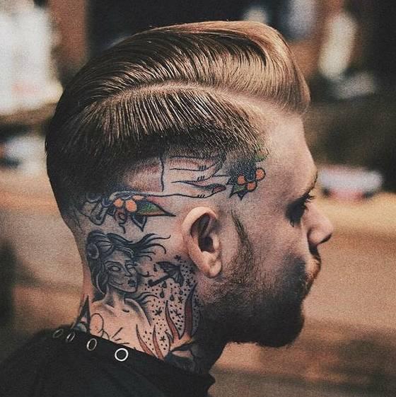 复古发型 纹身 .