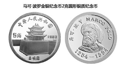 马克波罗金银纪念币2克马可波罗头像银币