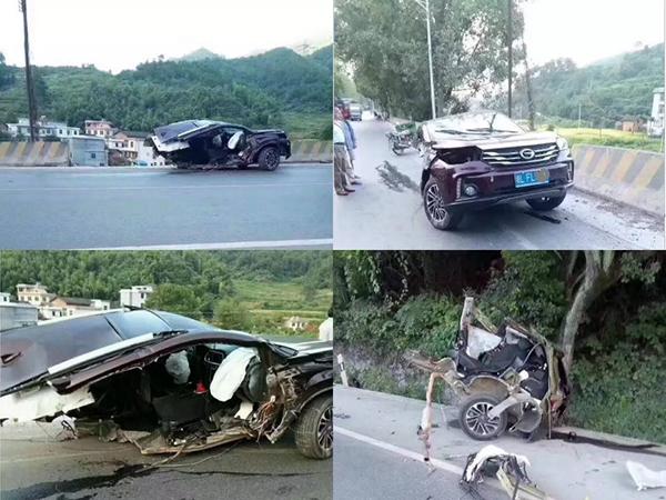 一场车祸事故后,广汽传祺GS4遭 拦腰横断 引发巨大质疑