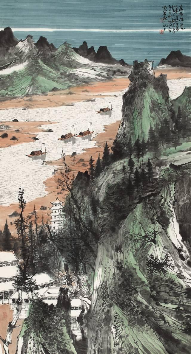 碧湖映雪----著名畫家劉立勇山水畫作品欣賞圖片