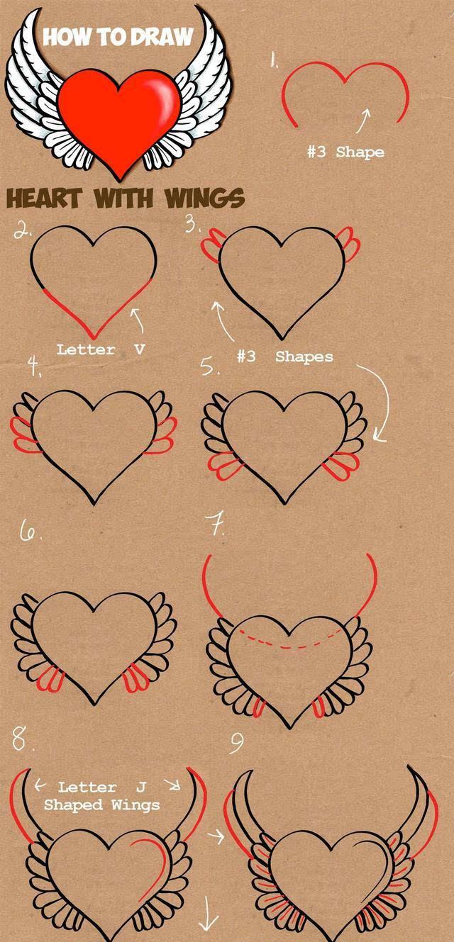 儿童简笔画:心形创意画法大全,给你一颗多彩之心