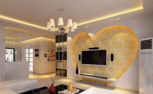 2016時尚客廳電視背景墻壁紙裝修效果圖