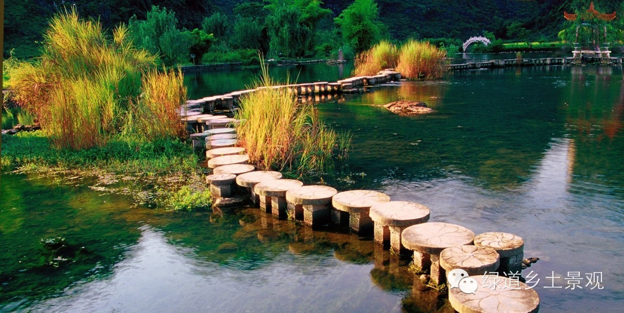 骚穴好多水水_石墩汀步不规则的迂折于泉水之上,通向泉中亭榭,两边长有茂密的水生灌