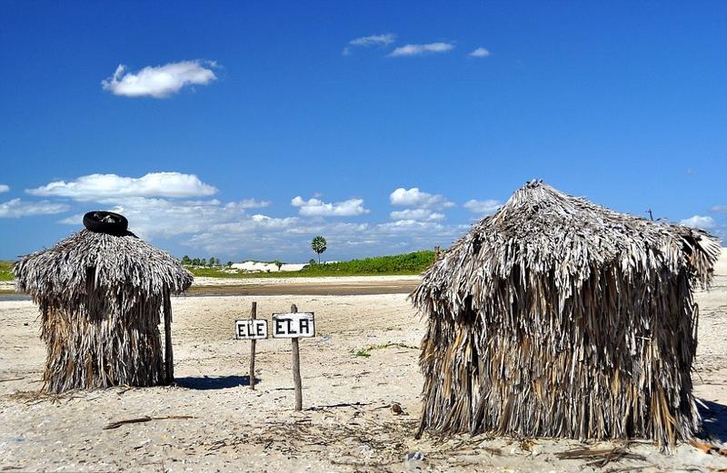 巴西的jericoacoara海滩的厕所,his'n' hers