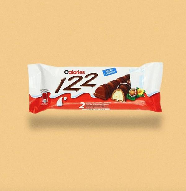 一條健達繽紛樂牛奶榛仁威化巧克力,122卡路里