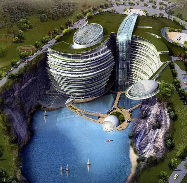 """全球独一无二的""""世界建筑奇迹""""就在松江,佘山深坑酒店"""