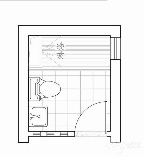 洗手臺的設計過大,造成馬桶的位置離淋浴房近了一些.圖片