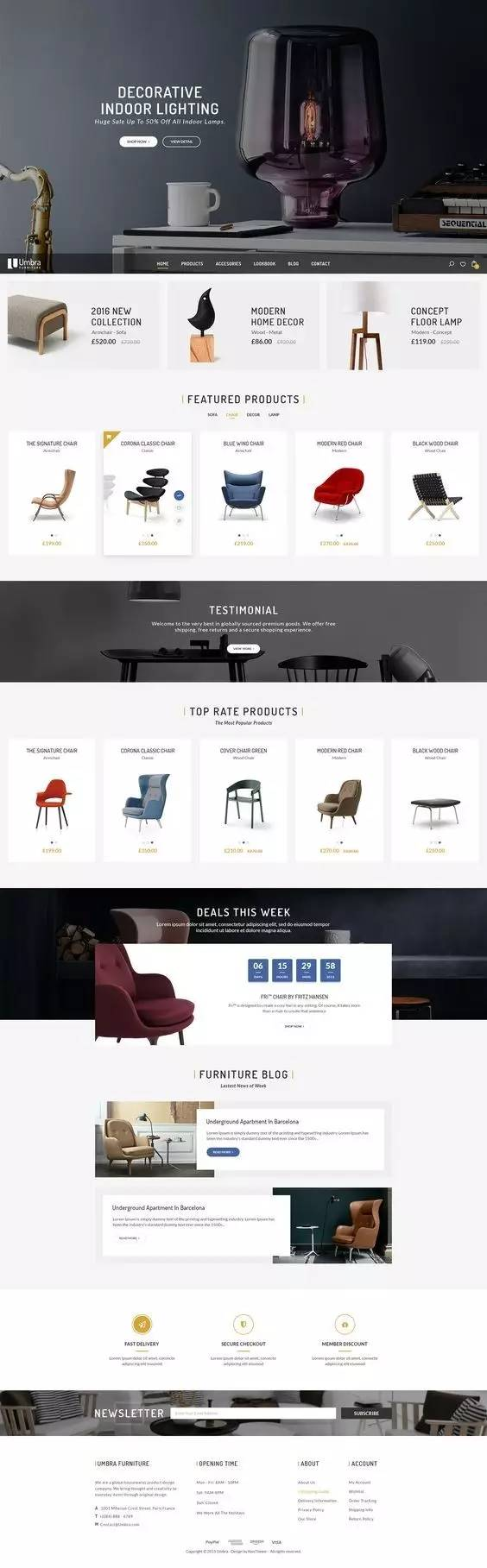 & interior wordpress theme : umbra is the premium psd template f