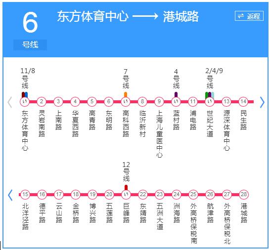 6号线首末班车时刻表