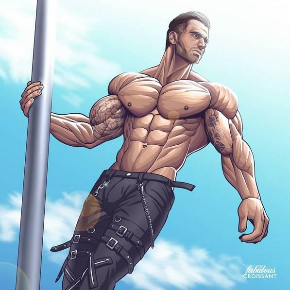 健身手机壁纸:卡通版肌肉男壁纸下载(完美的身体)