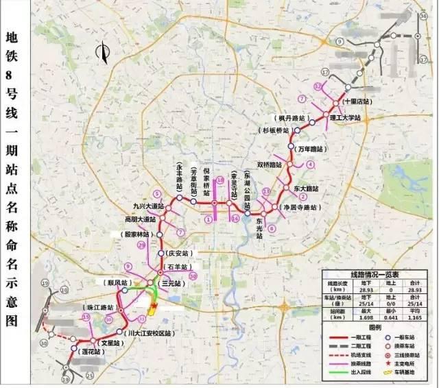成都8,9,11,17号线65座地铁站具体点位公布了!