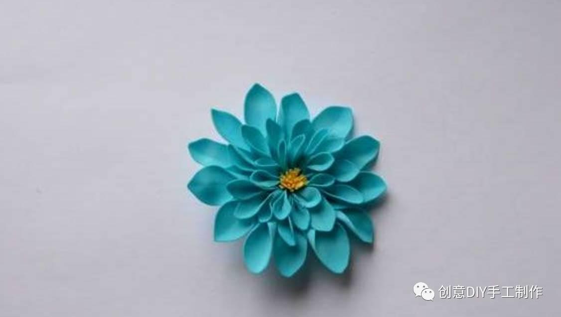 海綿紙diy手工制作菊花胸針飾品圖片