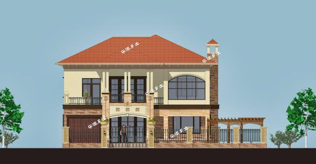 二层欧式自建别墅,基地15x13米,带庭院车库
