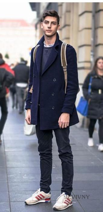 黑色开衫搭配男_天蓝色衬衫这样搭配裤子,更加干净阳光