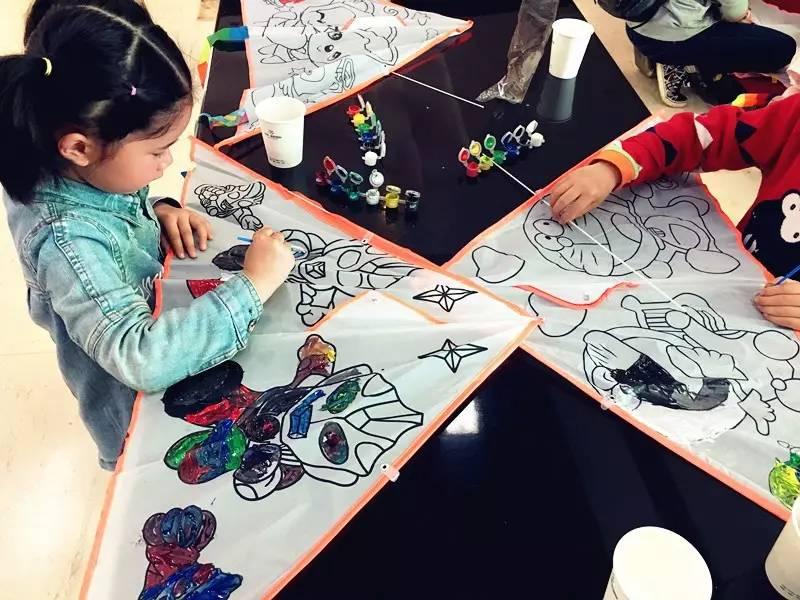 周末萌娃開課總結丨風箏diy ,春天的色彩一筆繪出圖片