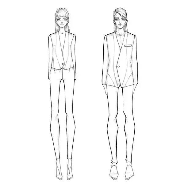 服装人体线稿形态_史上最经典时装人体动态:从9头身到时装效果图线稿表现!