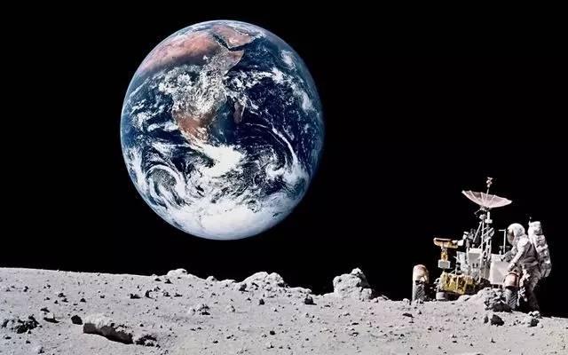 的照片_阿波罗号登月时,拍摄了一张月球遥望地球的照片,这张照片上任何的人工