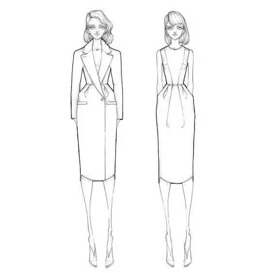 服装人体线稿形态_服装设计关于线稿(漂亮的服装效果图从线条开始!)